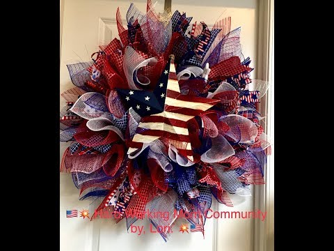 How to make a sunburst July 4th wreath with flag star