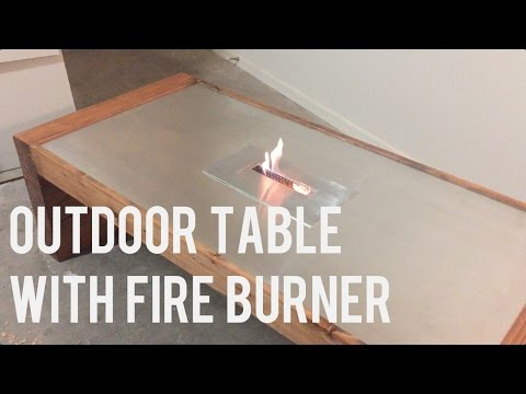 Modern Outdoor Coffee Table with Fire Pit / Ethanol Burner - DIY