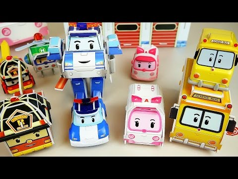 Robocar Poli car toys Paper bus ambulance station make and play