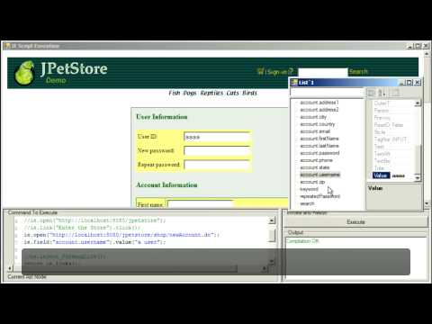 Writing an O2 'IE Automation' Script for JPetStore Account Creation