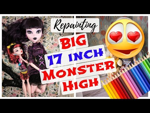 BIG 17'' MONSTER HIGH DOLL REPAINT / How To Customize Barbie Doll / Drawing Realistic Face Tutorial