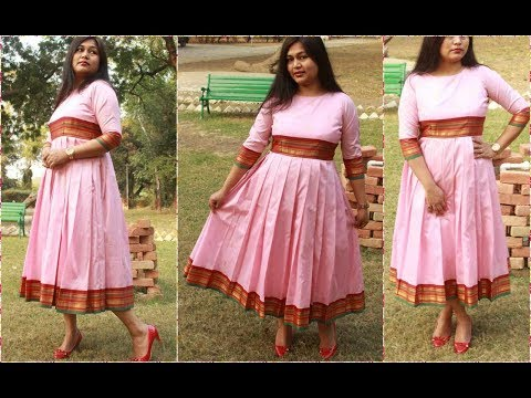 Stylish Pleated Dress Form Old Saree |#diy #christmas party Dress