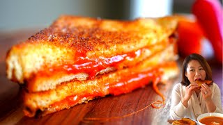 Grilled Cheese Deluxe Sandwich: CREAMY🌶SPICY Gochujang Cheese 매운 치즈토스트, 간식 토스트 [Korean Go-to Toast]