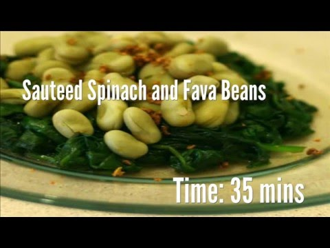 Sauteed Spinach and Fava Beans Recipe