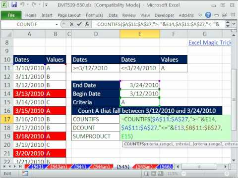 Excel Magic Trick 545: Count Between Dates with 3 Criteria COUNTIFS & DCOUNTA & SUMPRODUCT