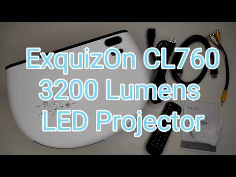 ExquizOn CL760 LED Home Theater Cinema Video Projector 3200 Lumens