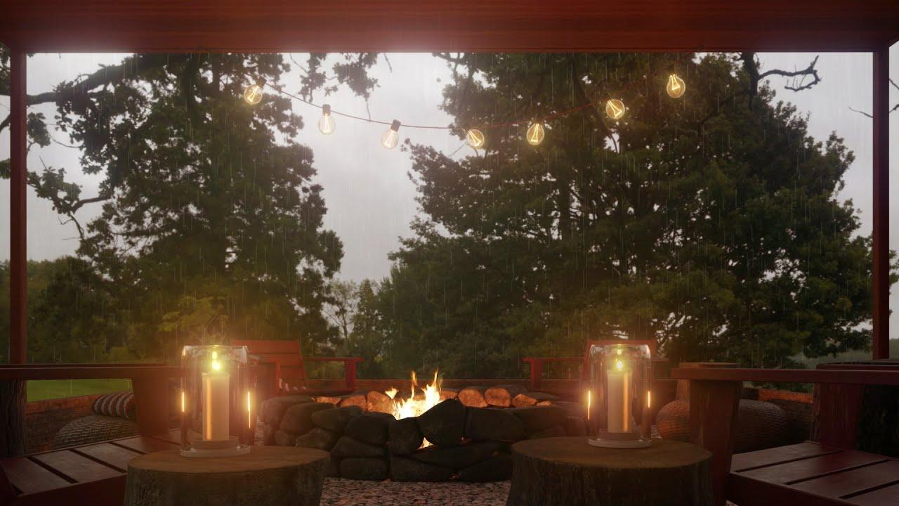 Campfire on a rainy day – Crackling Fire Sounds, Rain Sounds