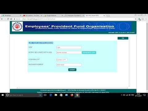 How to Link Aadhaar number to PF ( Provident Fund ) Account online ( 31st March 2018 is last date )