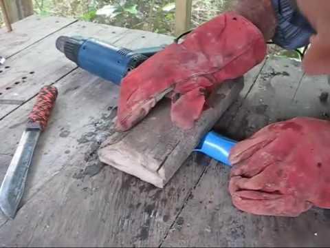 Make A PVC Sheath To Piggy Back An Old Hickory Knife On A Bolo DIY Bushcraft 101 Tutorial