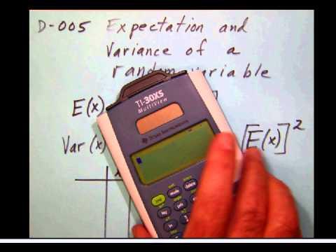 D 005 Expectation and variance of a random variable