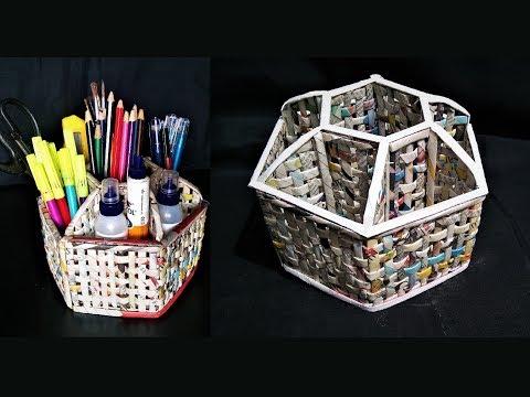 How to  make a Desk Organizer using newspaper and cardboard /  DIY desk organizer / Newspaper Craft