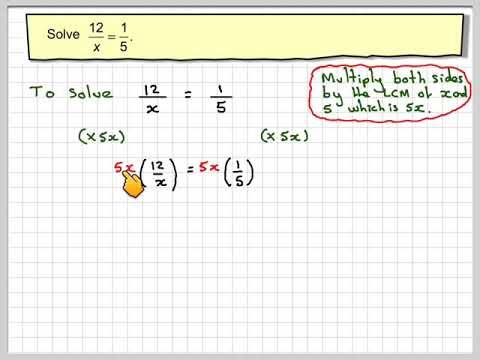 Solving equations with x in the denominator 01