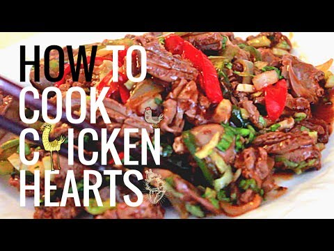 Chicken Hearts with Onions and Peppers