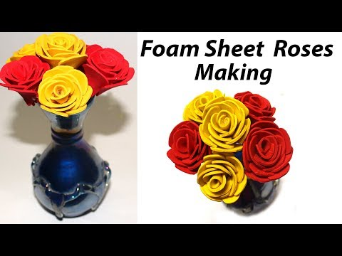 How to Make Foam Sheet Roses Step by Step | Foam Sheet Craft Ideas | DIY Flowers