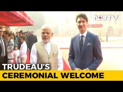 Justin Trudeau Welcomed At Rashtrapati Bhavan, Meets PM Modi