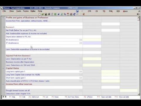 Income Tax Computation | Winman CA ERP