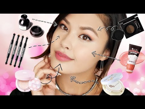 FULL FACE USING DIFFERENT CUSHION MAKEUP PRODUCTS   Korean Makeup Review + Tutorial