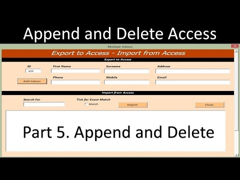 Excel Userform – Append and Delete Access Database from Excel