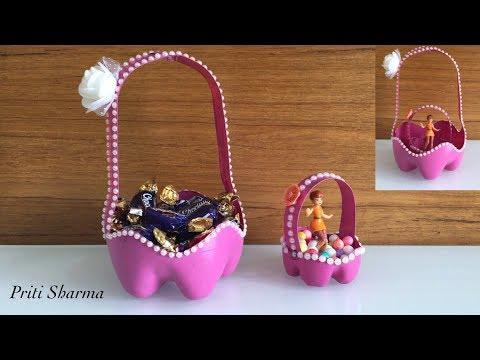 Best Out Of Waste Plastic Bottle Gift Basket / DIY / Plastic Bottle Flower Basket   Priti Sharma