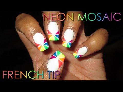 Neon Mosaic French Tip | DIY Nail Art Tutorial