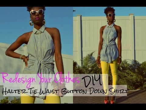 DIY Halter Tie Waist Button Down Shirt-(RYC) 5