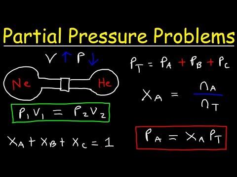 Dalton's Law of Partial Pressure Problems, Mole Fraction, Chemistry Gas Laws