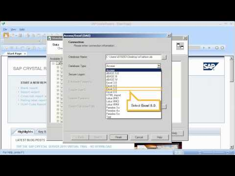 Connect to an Excel Spreadsheet or a Text File: Crystal Reports 2011