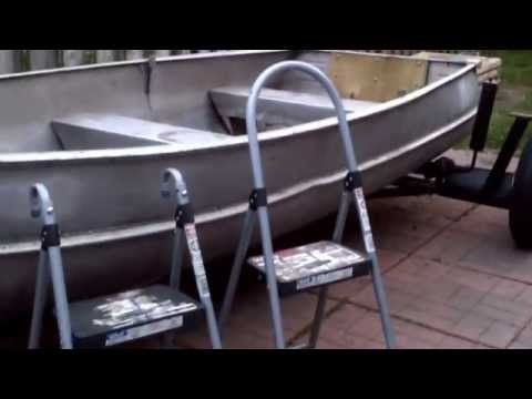 Homemade boat ladder for you and your dog (small boat)