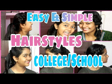 💗Easy & Simple hairstyles for college/school going students||Ponytail hairstyles||Malayali youtuber