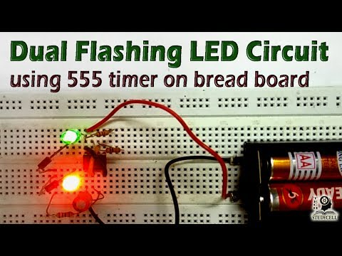 How to Design Dual Flasher LED Circuit using 555 timer on breadboard / Easy Breadboard Projects