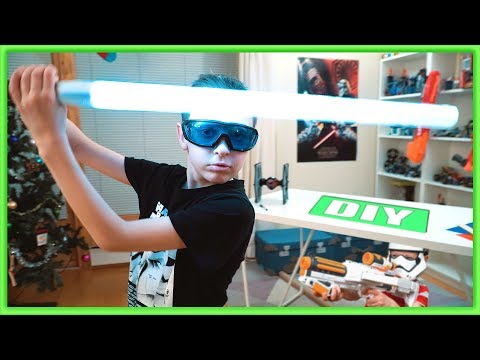 I made simple LIGHTSABER toy | NERF WAR: Star Wars Blaster vs DIY Lightsaber