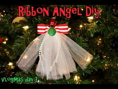 Vlogmas 2014 Day 3 DIY Ribbon Angel hair clip/Ribbon Angel ornament