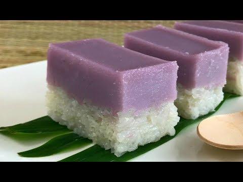 Resepi Kuih Seri Muka Keladi  | Coconut Glutinous Rice with Yam / Ube