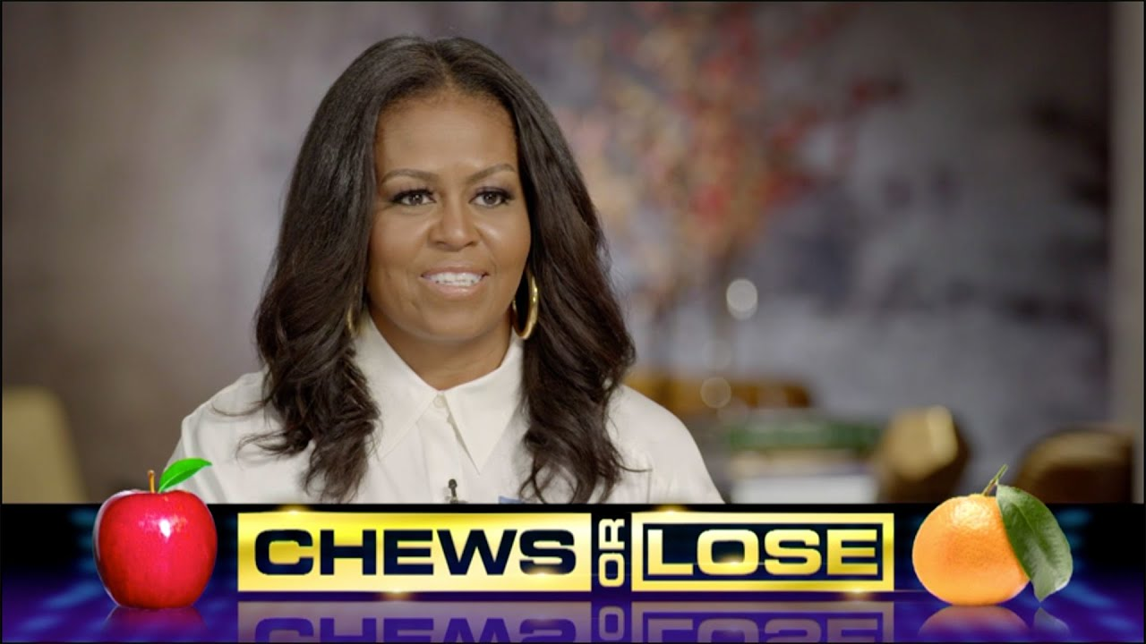 """""""Chews or Lose"""" - Michelle Obama Answers Food Questions In A Late Show Speed Round"""
