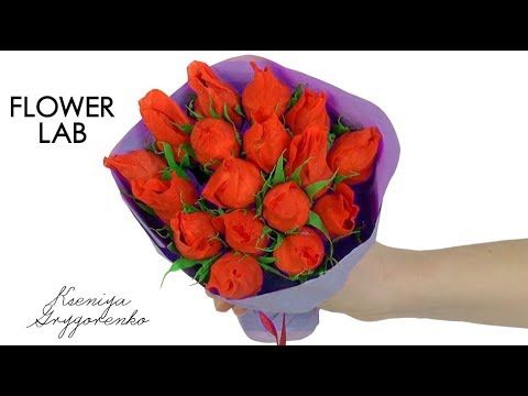 MASTER CLASS CANDY BOUQUET / DIY crafts: How to make crepe paper flowers