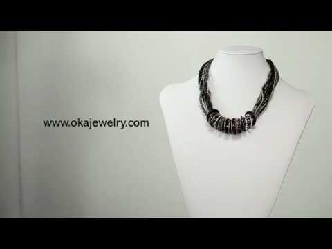 Multi Strand Seed Bead Ring Choker Necklace