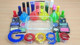 GOOGLE SLIME Mixing makeup and glitter into Clear Slime Satisfying Slime Videos