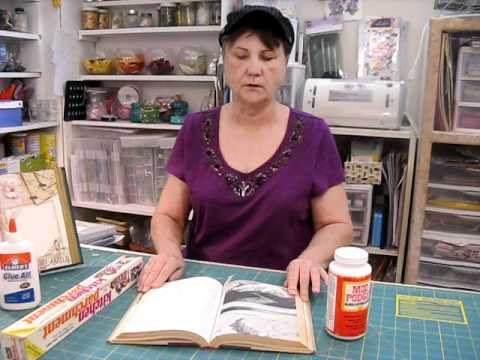 scrapbooking an old book into a picture frame