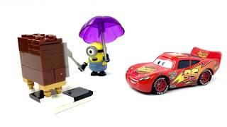 Disney Cars Lightning McQueen Helps Minions Fix Bad TV, Stuart Minion Loves Macks Toys Story Movie