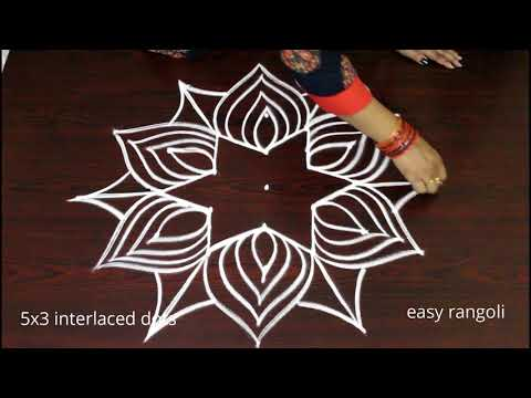 how to draw new friday kolam * easy rangoli designs with 5 dots * simple & small muggulu by Suneetha