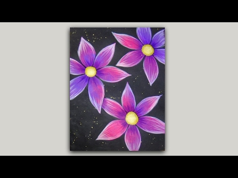 Acrylic Painting Pink and Purple Flowers on a Black Background