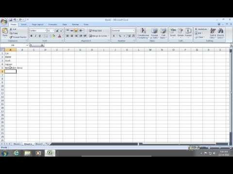 How to make a drop down menu in Excel 2007