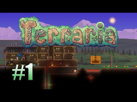Let's Play Terraria 1.3 Expert Mode #1 - Building shelter for the night