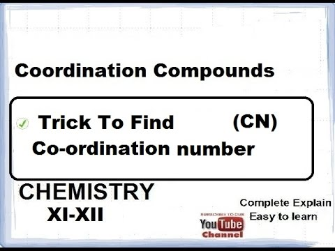 Chemistry Coordination Compounds(Find Coordination number)  CBSE class 12 XII