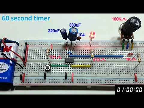 60 second Variable Monostable multivibrator using 555 timer in Tamil & English,tamil electronics