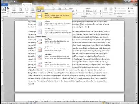 Adding page numbers, section breaks to Word
