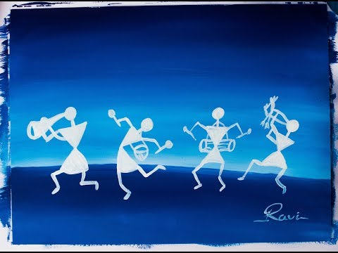 Warli Poster Color Painting White Version