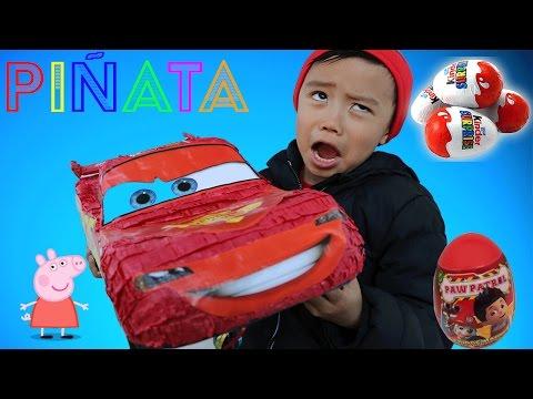 HUGE AMAZING Disney Pixar Cars 3 - Lightning Mcqueen Piñata filled with Kinder Surprise eggs