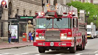 Boston Fire Department Ladder 15 Responding Sirens and Electronic Horn