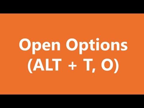 Excel Shortcuts - Open Options